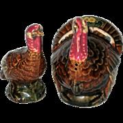 SOLD Rosemeade Pottery, North Dakota, Hand Painted Thanksgiving Turkey Salt and Pepper Shakers