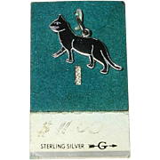 Wells Sterling Silver and Enamel Black Cat Charm on Original Card 1960's