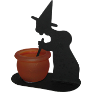 SOLD 1993 Retired Yankee Candle Witch and Cauldron Votive