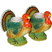 SOLD Norcrest Ceramic Thanksgiving Turkey Candle Holders