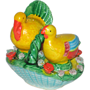 SOLD Three Piece Turkeys in a Basket - Salt and Pepper Shakers GNCO Japan