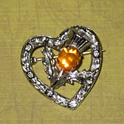 Petite Mizpah Signed Scottish Silvertone Thistle in a Heart Pin