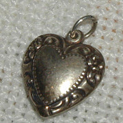 Sterling Repousse Heart Charm - Flowered Border