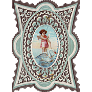 Silver and Aqua Victorian Valentine - Angel and Swan