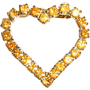 Amber-Colored Rhinestone Heart Pin from the 1960's