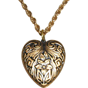 Gold-tone Embossed Heart Pendant
