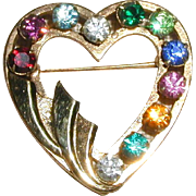 1950's 12K Gold Filled Heart Pin with Eleven Multicolored Rhinestones