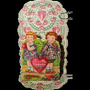 Petite 1920's German Folding Stand-Up Valentine - Shy Girl