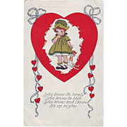 1910 Vintage Valentine Postcard - Lonely Girl
