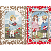 Double Sided Whitney Valentine - Children with Valentine Hearts, Girl with Bouquet