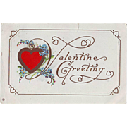 Vintage Valentine Postcard - Red Heart and Forget-Me-Nots