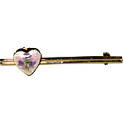 SALE Bar Pin with Guilloche Heart Locket