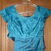 Vintage Teal Silk Sari and Choli