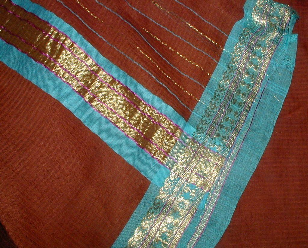 Brown Cotton Sari with Elegant Border in Turquoise Blue, Metallic Gold and Purple