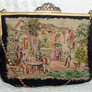 Scenic Petite Point Purse with 800 Silver Clasp
