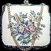 La Marquise Tapestry Handbag with Flowers circa 1960