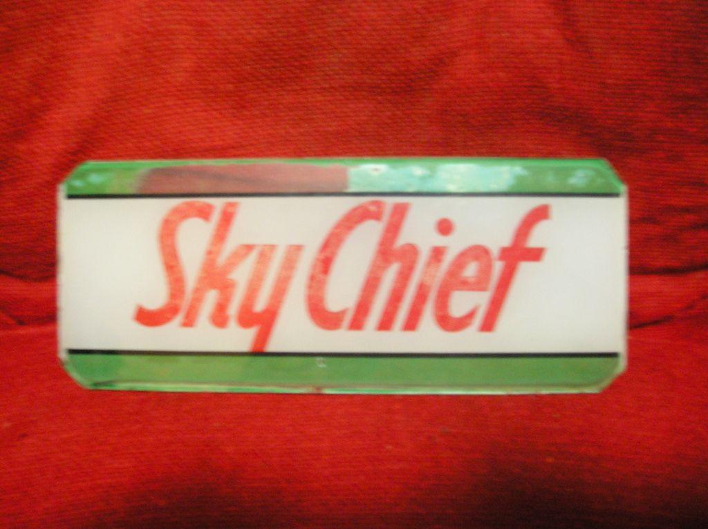 "Gasoline Pump Glass Insert-""Sky Chief"""