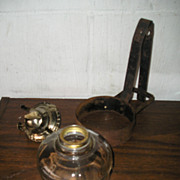 Oil Lamp with Primitive Tin Strap Bracket