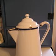 White Enamel Graniteware Coffeepot