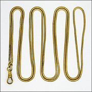 """SOLD Victorian Gold Plated Long Guard Snake Chain - 55½"""""""