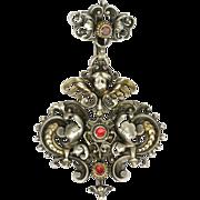 Austro-Hungarian Victorian Silver & Gemstone Angel Pendant
