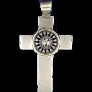 SALE Large Silver Cross Pendant - Winged Lion Symbol