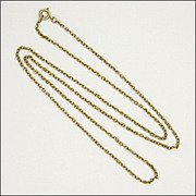 "Antique 9 Carat Gold Chain Sterling Clasp -24"" - 4.7grams"