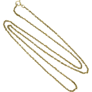 """Antique 9 Carat Gold Chain Sterling Clasp -24"""" - 4.7grams"""