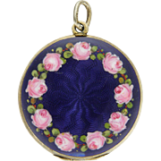 SALE German or Austrian 935 Silver Enamel Roses Locket