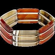 Scottish Art Deco Agate & Silver Expansion Bracelet
