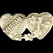English Antique 'MIZPAH' Silver Hearts Pin