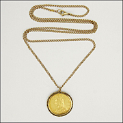 Victorian Sovereign 22K Gold Pendant with 9K Surround & Antique Chain
