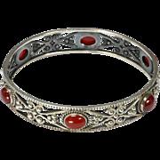 European Silver & Carnelian Agate Pierced Bangle