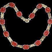 Scandinavian Silver Bows & Carnelian Glass Beads Necklace