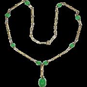 Art Deco German Metal & Glass Bead Drop Necklace