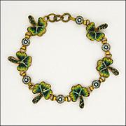 Antique Italian Micro-Mosaic Shamrock Bracelet
