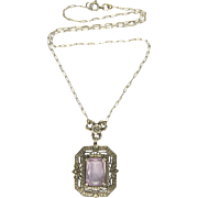 Art Deco Silver and Amethyst Pendant Necklace
