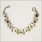 Austrian Circa 1920 Silver Enamel 'Lucky Charms' Bracelet - Vienna