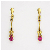 9k Gold and Teardrop Shaped Ruby Drop Earrings - British Import Mark
