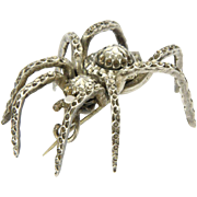 Victorian Faceted Silver Dimensional Spider Pin