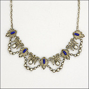 French Antique Silver Enamel Ornate Necklace