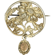 SOLD French Art Nouveau Silver Sunflower Pin
