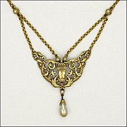 European Antique Gold Plated Necklace - Faux Pearl Drop