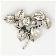 Swedish Sterling Silver Leaf Spray PIn - designed by NEULING 1954