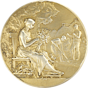 SOLD French Circa 1900-1910 Silver Gilt Horticulture Medal - F VERNON