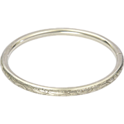 Antique Chased 835 Silver Bangle Bracelet - German or Austro-Hungarian