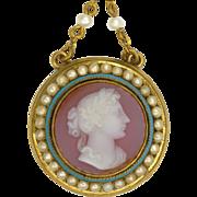 Victorian Circa 1860 15K Gold Cameo Pendant Necklace