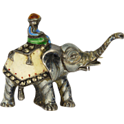 SALE Sterling Silver and Enamel Elephant Pin