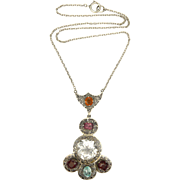 Art Deco Silver and Gemstone Necklace
