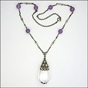 Arts and Crafts Silver Amethyst Bead and Rock Crystal Pendant Necklace